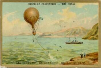 Fransk postkort fra 1869 som viser hvordan S. A. Andrées luftballong tar av fra Svalbard. (Foto: (Kilde: Wikimedia commons))
