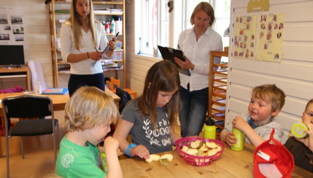 Postdoktor Anne Lene Kristiansen fra Universitetet i Oslo (til høyre) og prosjektmedarbeider Andrea Warren noterer ned hva barna i Eidsfoss Barnehage spiser. (Foto: Elin Svilaas)
