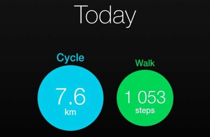 Kjære Tøi-forskere. Ikke så veldig imponerende hittil i dag, men jeg lover å sykle litt mer i morgen. (Foto: (Skjermdump: Fra Moves-appen))