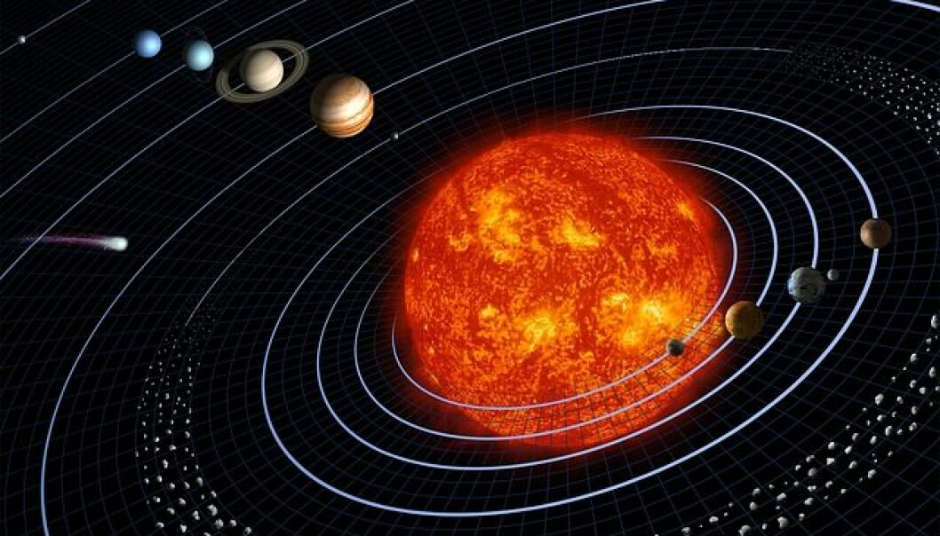 I vårt eget solsystem kretser planetene rundt solen i nesten sirkelrunde baner. Men hvordan ser planetenes baner ut i andre solsystem? Det har danske forskere utviklet en ny metode til å måle.  (Illustrasjon: NASA)