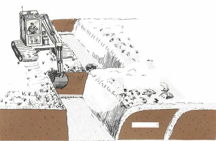 Torva vert lagd i botnen. Mineraljord vert lagd på toppen og i skråstilte lag mellom torva, slik at den drenerer. I praksis er laga meir skråstilte enn på figuren. (Foto: (Figur: Småskrift 4/90. Drenering III))