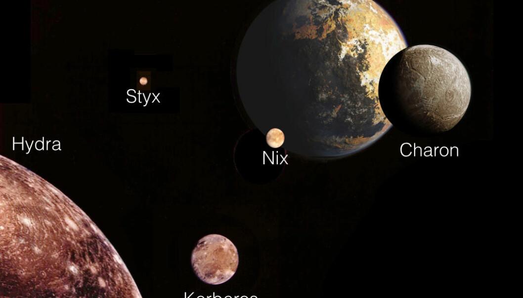 Dette er Plutos fem måner. (Foto: NASA/M. Showalter)