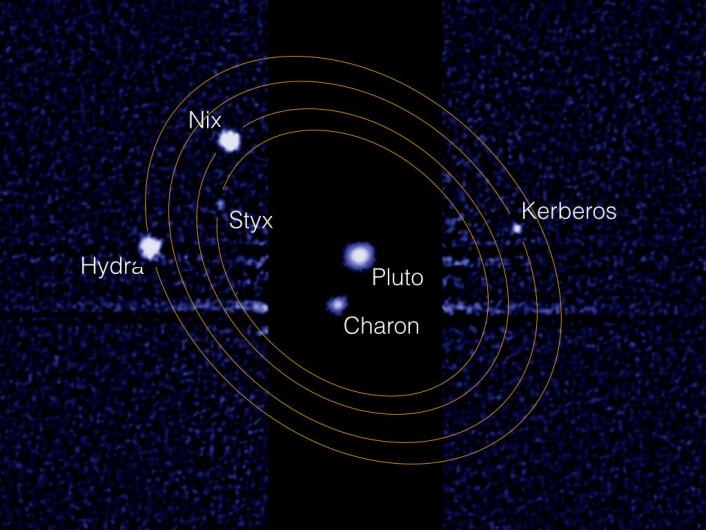 Slik ser Pluto-systemet ut gjennom Hubble-teleskopets linser. (Foto: NASA/M. Showalter)