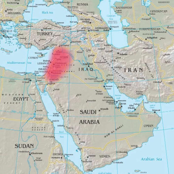 Området i Mistøsten som kalles levanten. (Foto: Wikimedia Commons)