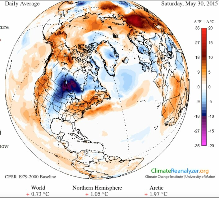Mai 2015 avsluttes meget varmt: 0.73 grader varmere enn gjennomsnittet globalt for årene 1979-2000, i følge reanalysen. Men litt kjølig i Sør-Norge. (Bilde: Univ. of Maine)