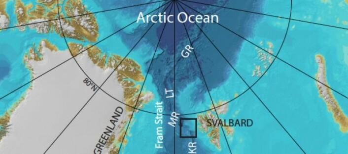 Knipovich ryggen, en undersjøisk fjellkjede, ligger i Framstredet mellom Grønland og Svalbard.  (Foto: UiT)
