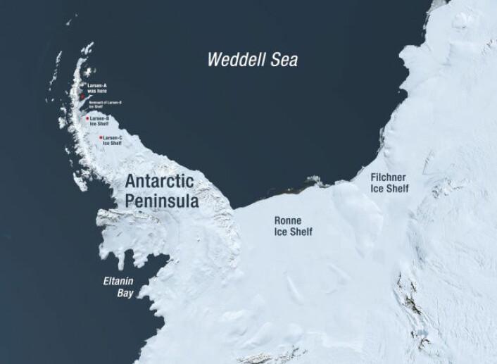 Den antarktiske halvøy med Eltanin-bukta og Larsen A, B og C merket. (Foto: NASA)