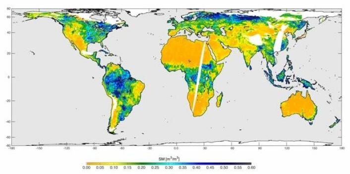 NASAs første forsøk på kvantifisering av jordfuktigheten, basert på data fra SMAP i dagene 4 - 11 mai. (Bilde: NASA/JPL-Caltech/GSFC)