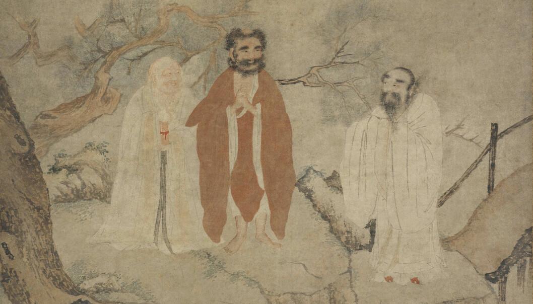 Den kinesiske filosofen Laozi (i midten) sammen med selveste Buddha (til venstre) og Konfucius (til høyre). (Illustrasjon: Heritage)