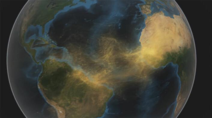NASA-satellitten CALIPSO har oppdaget en elv av støv som frakter næringsrikt fosfor fra Sahara til regnskogen i Amazonas. (Foto: (Illustrasjon: Fra video av NASA Goddard's Scientific Visualization Studio))