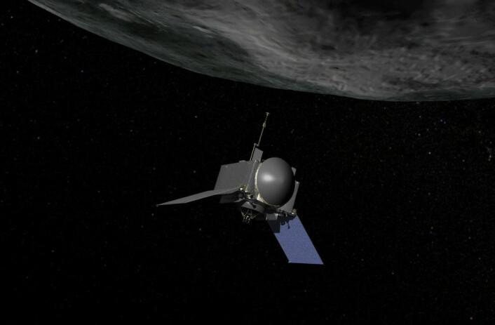 Illustrasjon som viser NASAs framtidige romsonde OSIRIS-REx, som etter planen skal hente materiale fra overflaten av asteroiden Bennu i 2019. (Foto: (Illustrasjon: NASA/Goddard/Chris Meaney))