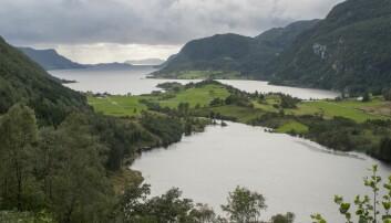 Utsikt mot Redalsgrend og Vevring ved Førdefjorden. I forgrunnen Liavatnet. Midt på bildet Engebøfjellet der det er planlagt gruvedrift med deponi for gruveavfall i fjorden. (Foto: Helge Sunde, Samfoto)