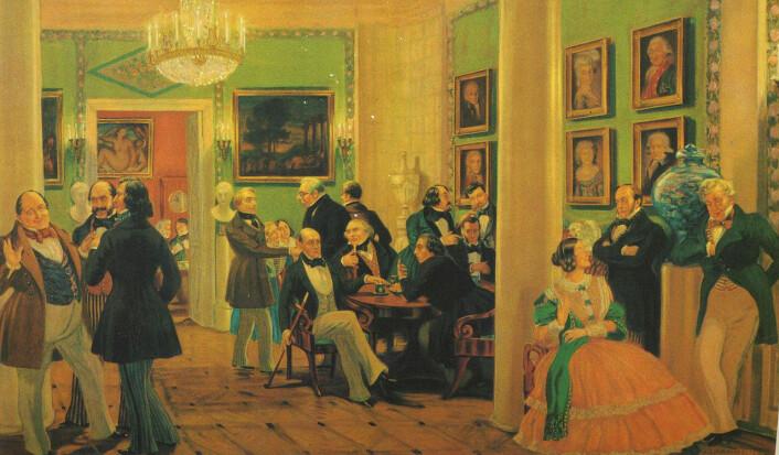 Salonger var viktige møtesteder på 1800-tallet, både i Frankrike og resten av Europa. Her fra en salong i Moskva rundt 1840. (Foto: (Maleri: Boris Kustodiev, Wikimedia Commons))