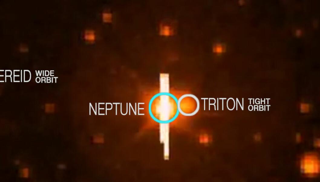 Kepler har fanget Neptun og månen Triton. Under kan du se hvordan månen og planeten beveger seg. (Foto: NASA)