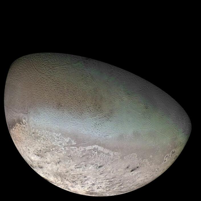 Tritons overflate, sett av sonden Voyager 2 i 1989 (Foto: NASA/JPL)