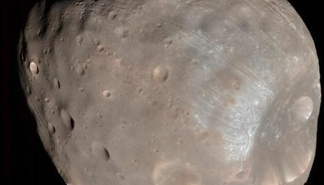Mars-månen Phobos. Bildet er tatt av Mars Reconnaissance Orbiter i 2008. (Bilde: NASA/JPL-Caltech/University of Arizona)