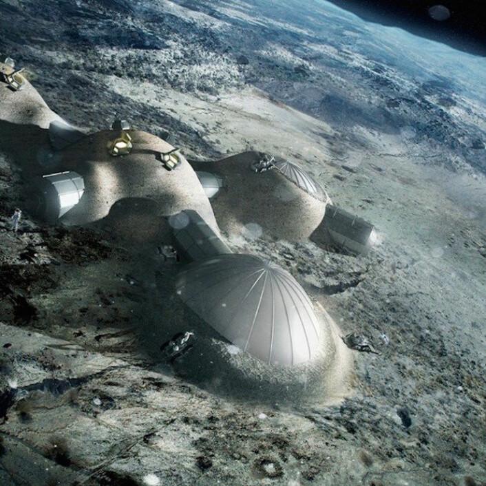 Wörner foreslo en bemannet base på baksiden av Månen som et internasjonalt samarbeidsprosjekt etter Den internasjonale romstasjonen. (Foto: ESA/ Foster + Partners)