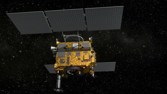 Den japanske asteroidesonden Hayabusa 2 ble skutt opp i desember 2014. (Foto: Wikimedia Commons)
