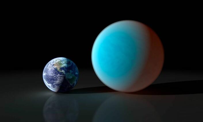 Eksoplaneten 55 Cancri e er ein steinplanet om lag dobbelt så stor som jorda, med ein masse som er om lag åtte gongar så stor. (Foto: NASA/JPL-Caltech/R. Hurt (SSC))