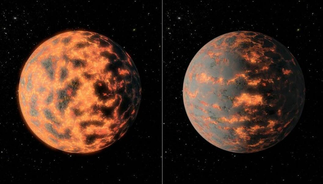 Temperaturen på den varme dagsida av planeten 55 Cancri e varierer med 1400 grader i løpet. Årsaka kan vere vulkanar som spyr ut gass og støv. Biletet viser ein illustrasjon av korleis planeten kan sjå ut. (Foto: NASA/JPL-Caltech/R. Hurt (IPAC))
