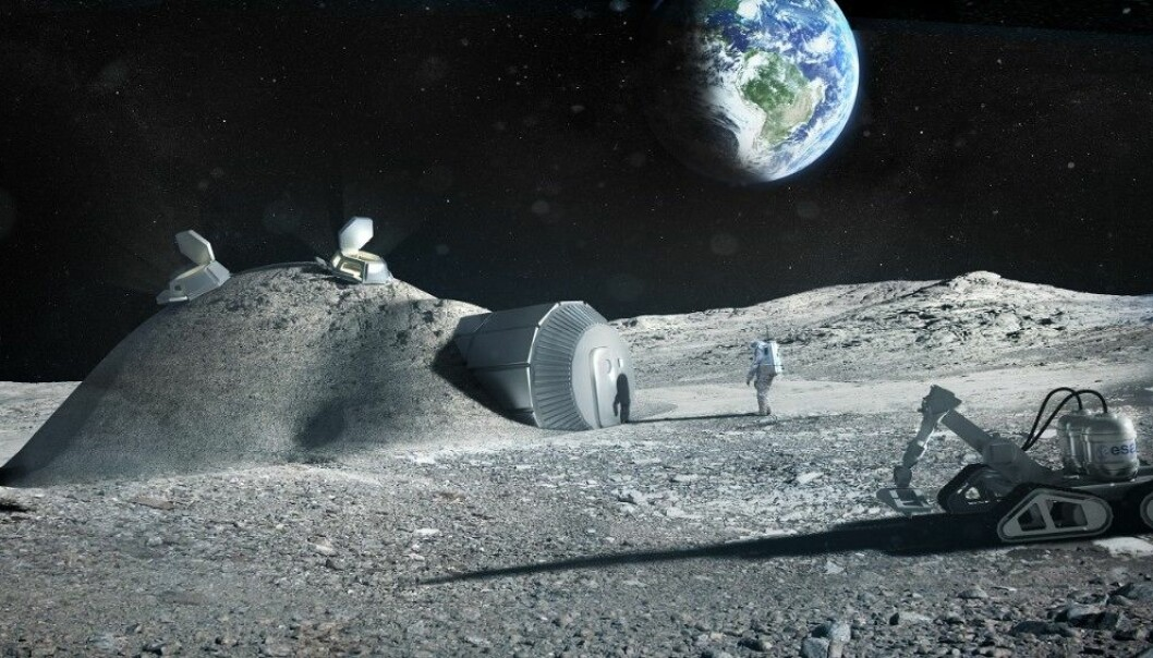Slik ser ESA for seg at en permanent base på månen kan se ut. Organisasjonen har tidligere foreslått å bruke 3D-skrivere til å bygge anlegget. (Foto: ESA / Foster+Partners)