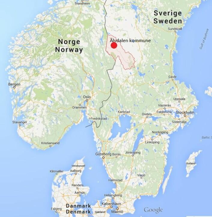 Kartet viser hvor Älvdalen Kommune befinner seg.  (Foto: (Kilde: Google Maps))