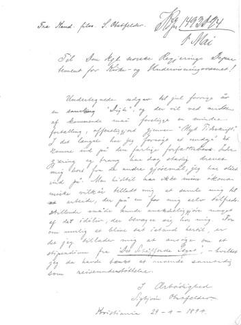 Obstfelders søknad 1894 om stipend fra Schäffers legat. Original i Riksarkivet. S-3568 Kirke- og undervisningsdepartementet. Skolekontoret D.
