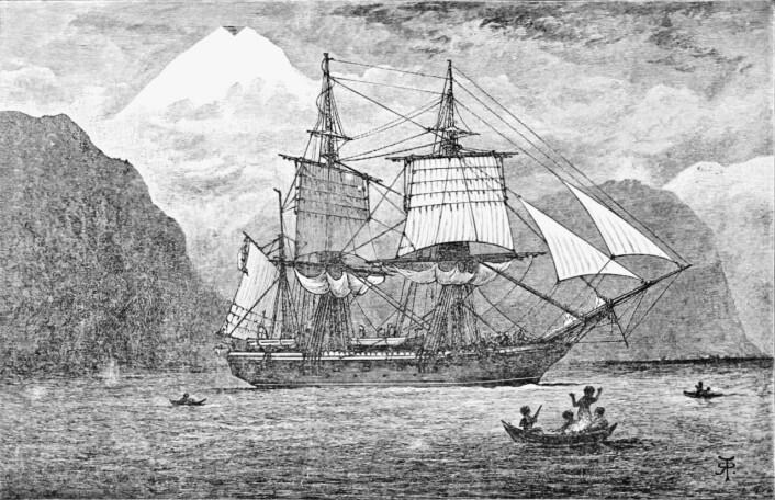 HMS Beagle på reise gjennom Magellanstredet, slik en kunstner har sett den for seg.   (Foto: (Bilde: R.T. Pritchett))