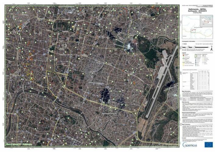Kart over Katmandu basert på optiske satellittdata etter jordskjelvet 25. april 2015. Slike kart brukes for å kartlegge katastrofeområdet og har som dette kartet viktig informasjon lagt til for hjelpearbeidet.  (Foto: DigitalGlobe/European Commission)