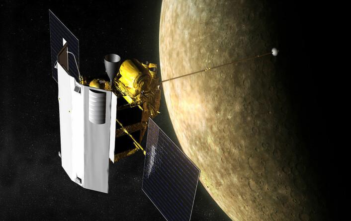 Romsonden MESSENGER rundt Merkur. (Foto: (Illustrasjon: NASA/JHU/APL))
