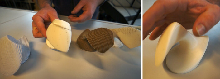Til venstre: Utviklingstrinn fra ryggvirvel hos hvithval, med gjentatte bearbeidinger av 3D-printede modeller og ny skanning. Til høyre: Modell av den ferdige ergonomiske datamusen. (Foto: Arnfinn Christensen)
