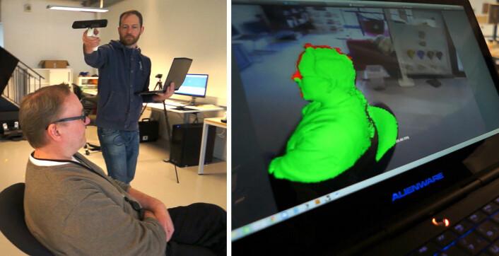 Spillkontrollen Kinect har en dybdesensor og registrerer bevegelser. Den kan derfor brukes til rask, grov 3D-skanning.  (Foto: Fra video av Arnfinn Christensen)