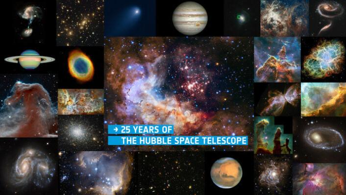 De 25 beste bildene fra Hubble i løpet av romteleskopets 25 år i rommet. Klikk på lenken for å se hvert bilde og få mer informasjon om dem. http://www.esa.int/spaceinimages/Images/2015/04/Hubble_25_with_title (Foto: NASA/ESA/Hubble)