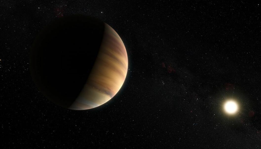 Den jupiterlignende gasskjempeplaneten 51 Pegasi b var den første eksoplaneten som ble oppdaget rundt en annen stjerne som ligner vår egen sol. Nå har astronomer fra European Soutern Observatory for første gang brukt en ny metode som gjør det mulig å se lyset som planeten reflekterer. Metoden brukes både til å beregne banen til planeten og til å oppdage eksoplaneter rundt andre stjerner som ikke passerer direkte foran stjernen og formørker lyset. (Illustrasjon: ESO)