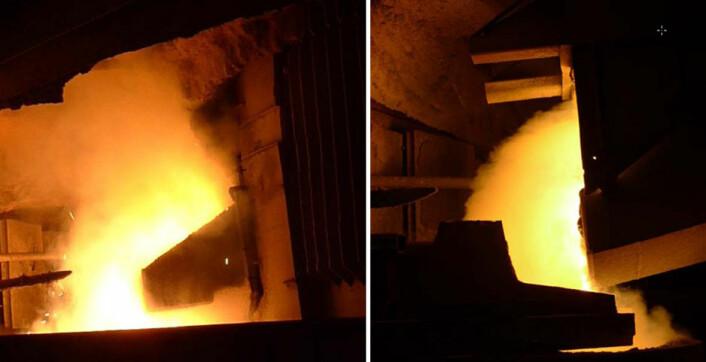 Bildet til venstre: Slik har det tradisjonelt sett ut i smelteverkshaller når silisium tappes fra ovnen. Støv som det verken er sunt eller behagelig å puste inn, har veltet ut av tappeåpningen. Bildet til høyre: Med det nye avsuget på plass, ser det slik ut når silisium tappes ved Elkem Thamshavn. Det nye avsuget fjerner 75 prosent av støvet i arbeidssoner nær ovnen.   (Foto: SINTEF)