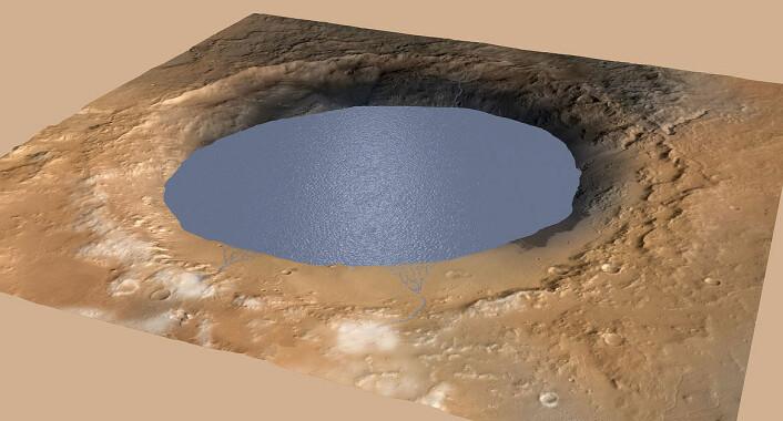 Illustrasjonen viser en sjø som delvis fyller Gale-krateret på Mars. Sjøen får tilførsel fra smeltet is langs kraterkanten. NASAs marskjøretøy Curiosity har funnet spor av gamle elver, deltaer og sjøer som tyder på at krateret inneholdt en innsjø for mer enn tre milliarder år siden. (Foto: (Illustrasjon: NASA))