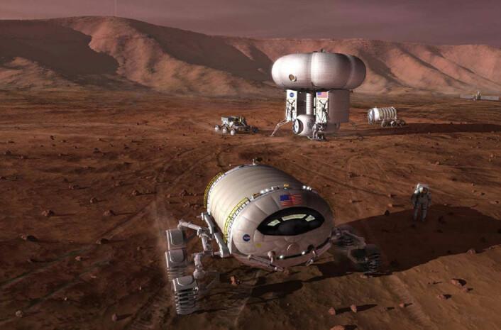 Illustrasjon fra 200 som viser en tenkt bemannet utpost på Mars. Illustrasjonen er ikke knyttet til de nye planene fra JPL. (Foto: (Illustrasjon: NASA))