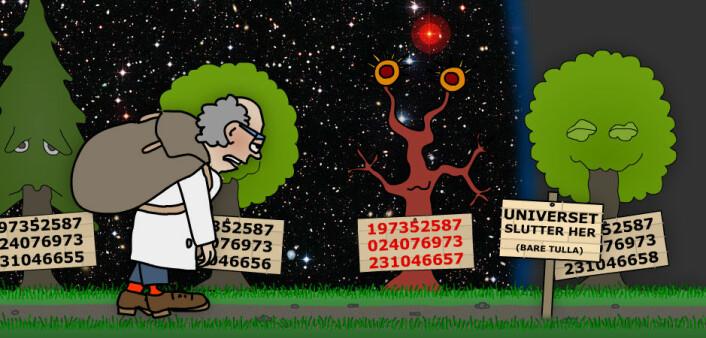Langt om lenge kom matematikeren til yttergrensen av det kjente univers, 46 milliarder lysår fra Tine Meieriet Jæren. Her var det også et primtall, men langt fra det største. Matematikeren lurte på om han skulle snu, men fant ut at så lenge det er tallinje, er det håp om flere primtall. (Illustrasjon: Arnfinn Christensen. Foto: ESO, Creative Commons)