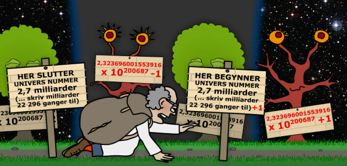 Blodsukkeret begynner å bli lavt, nå som matematikeren ikke lenger teller trær, men universer. Så store avstander strekker tallinja seg nemlig over at han går fra det ene universet til det andre til det tredje til det ... eller er det det samme universet hele tida? Mellom to av de veldig mange universene finner han de største tvillingprimtallene han har sett. Han blir svimmel ved synet. Den som bare hadde husket å ta med litt niste! (Illustrasjon: Arnfinn Christensen. Foto: ESO, Creative Commons)