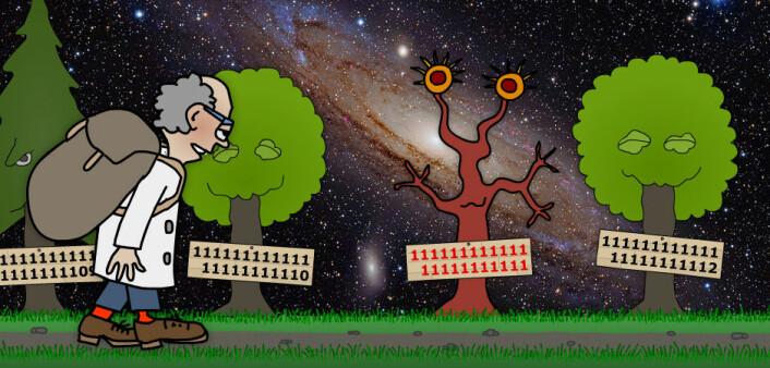 I traktene utenfor Andromedagalaksen, melkeveisystemet som er vår nærmeste nabo, fant matematikeren et primtall som bare bestod av ettall. Det prøvde å muntre ham opp, men sekken var tung av innsamlede primtall og ganglaget var knokete. (Illustrasjon: Arnfinn Christensen. Foto: Adam Evans, Creative Commons)