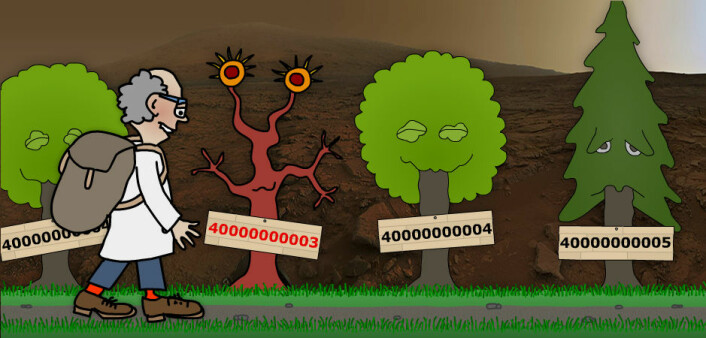 Vår matematiker var heldig. Han slapp å tilbakelegge mer enn bare 100 millioner kilometer for å komme til planeten Mars. Den røde planet var nemlig ganske nær jorda, til glede for det som var igjen av skosålene. Her ute fant han et primtall blant mange. Det hadde mange nuller, og det muntret ham litt opp i solnedgangen på Mars, uvisst hvorfor. (Illustrasjon: Arnfinn Christensen. Foto: Nasa)