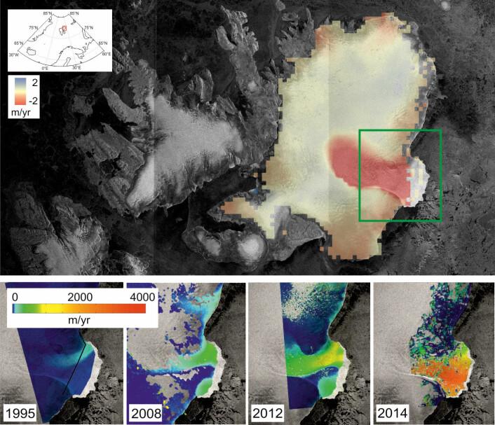 Smelting av Austfonna på Nordaustlandet på Svalbard. Det øverste bildet viser endring i istykkelse målt av Cryosat fra 2010 til 2014. De små bildene nederst viser isbreens hastighet målt ved ulike tidspunkt siden 1995.  (Foto: CPOM/GRL)