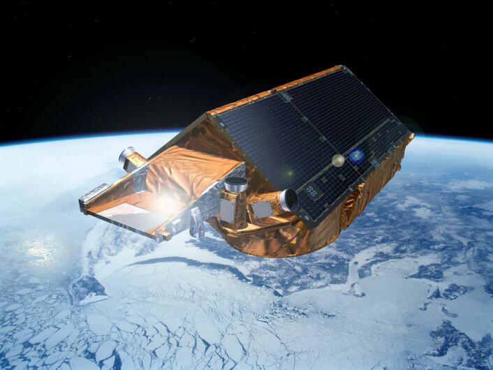 ESAs issatellitt CryoSat måler tykkelsen og utbredelsen av is i verdens store ismasser. CryoSat ble skutt opp i 201. (Foto: ESA)