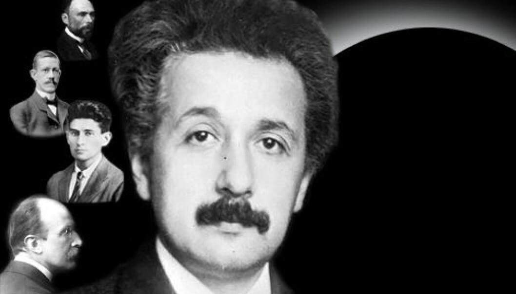 Fysikaren Albert Einstein er ein av karakterane i eit nytt teaterstykke av Robert Marc Friedman. Andre karakterar er, avbilda frå topp til botn: Carl Wilhelm Oseen, Allvar Gullstrand, Franz Kafka og Max Planck.  (Illustrasjon: Annica Thomsson)