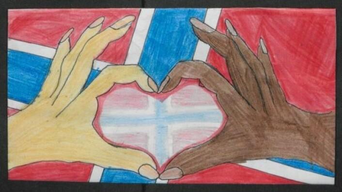 Det som går igjen i mange av barnetegningene, er en kombinasjon av verdiene kjærlighet, samhold og mangfold – som her. Hjertet symboliserer kjærlighet, hendene samhold og ulike hudfarger representerer mangfold.  (Foto: (Illustrasjon: Riksarkivet))