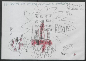 Denne detaljrike tegningen fra en niåring viser både bomben, skytingen på Utøya og gjerningspersonen som ser ut til å ha glede av sin egen ondskap. Teksten over sier «Til minne om Utøya-ofrene og bomben. Vi tenker på dere. Hilsen NN 9 år»  (Foto: (Illustrasjon: Riksarkivet))