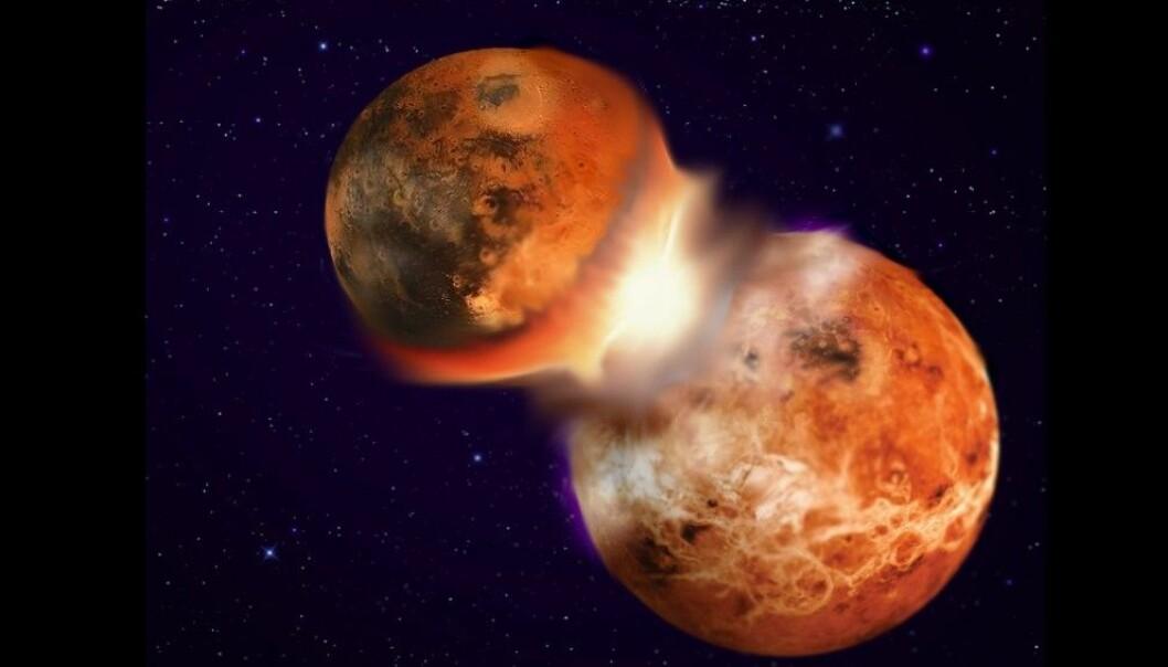 Nye berekningar viser at det er ganske stort sannsyn for at jorda kan ha kollidert med ein tvillingplanet med lik samansetning. (Illustrasjon: Hagai Perets)