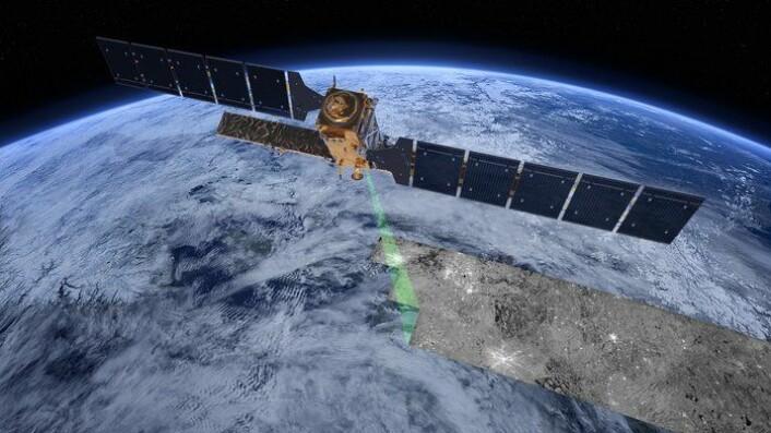ESAs miljøsatellitt Sentinel-1A er en radarsatellitt som ser hav, land og is. Norge bruker data fra satellitten til blant annet å holde øye med havområdene, skipstrafikk, og havis. (Foto: ESA/ATG medialab)