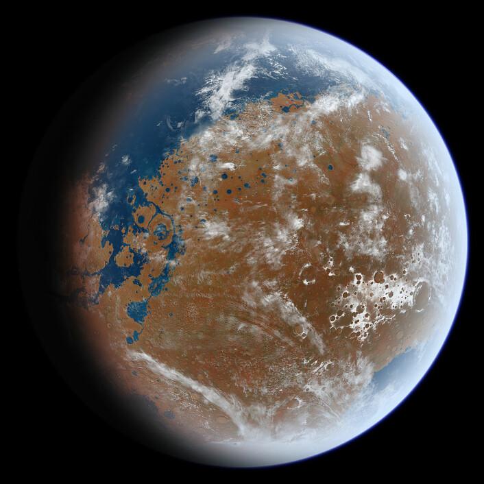 Slik kan Mars ha sett for flere milliarder år siden, i en kunstnerisk framstilling. (Foto: (Bilde: Ittiz, CC BY-SA 3.0))