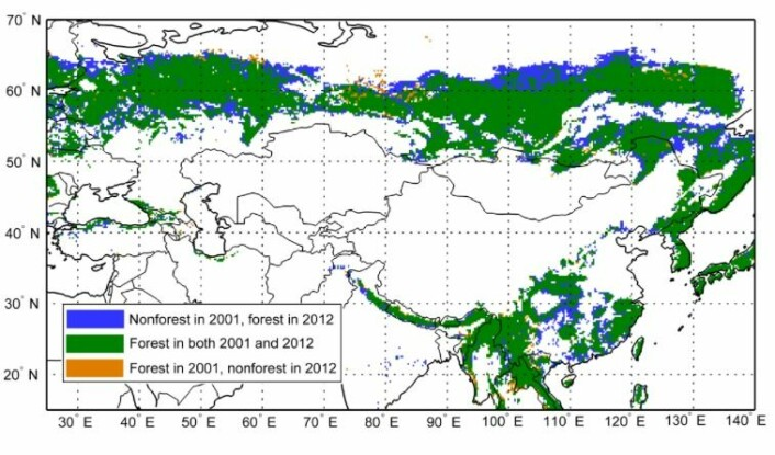 Et interessant satellittbasert estimat av skogens endringer i Russland og Kina det siste tiåret. (Bilde: Yi et al (2015) Supplementary Info).